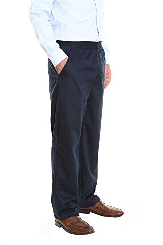 Pembrook Men's Elastic Waist Casual Pants Twill Pants with Zipper and Button – XXL – Navy