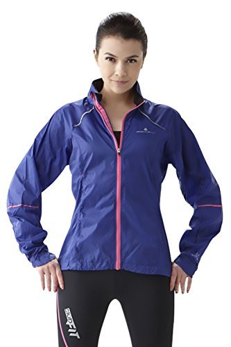 ClubFit Womens Wind Resistant Water Repellent Ultra Light Activewear Running Jacket with Light Reflective Material and Internal Earphone Loops (Royal Blue – Size XL)