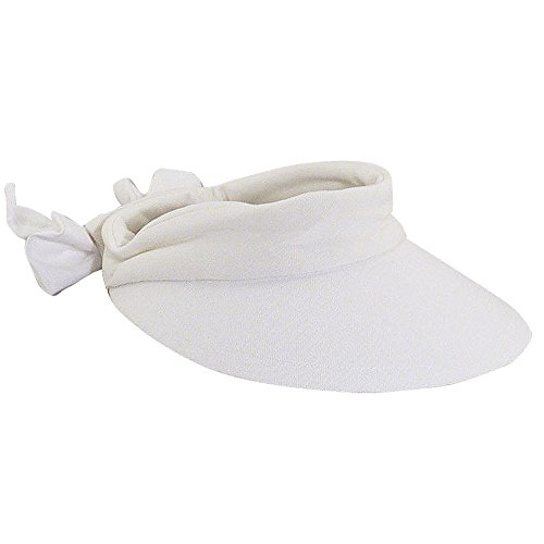 Scala Women's Deluxe Big Brim Cotton Visor with Bow, White, One Size