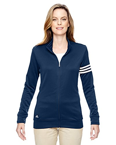 Adidas Ladies' 3-Stripes Full Zip Pullover Jacket, Nvy/Wht, Large