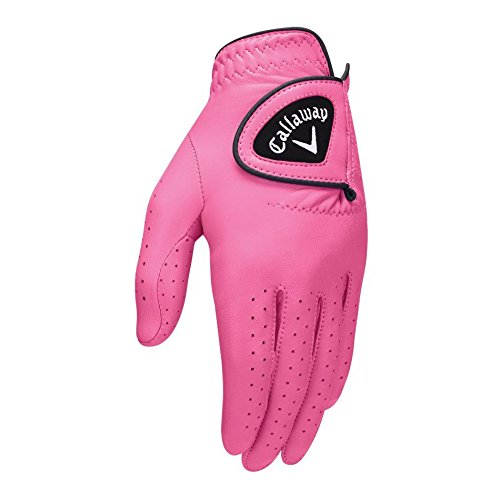 Callaway Golf 2017 Women's OptiColor Leather Glove, Pink, Small, Worn on Left Hand
