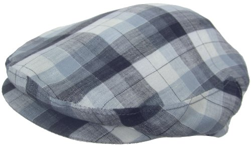 Headchange Made in USA 100% Linen Ivy Scally Summer Golf Hat Flat Cap (LARGE = 7 1/4 – 7 3/8, Blue Plaid)