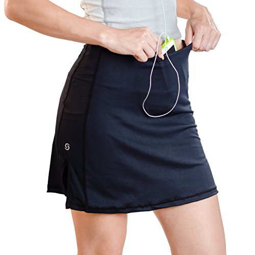 Sport-it Skort, Mid-Length Skirt Shorts With Side and Waistband Pockets, Tummy Control (Small)