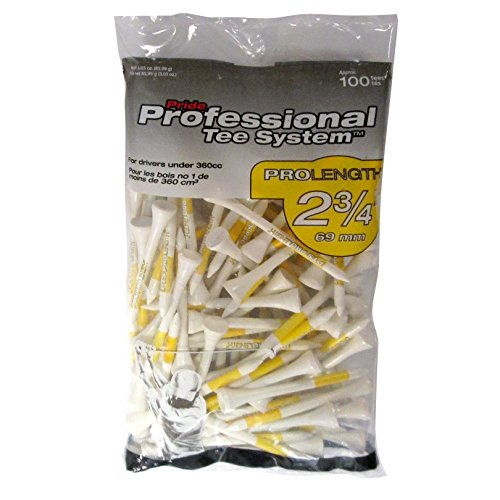 Pride Professional Tee System ProLength Tee, 2-3/4-Inch, 100 Count  (Yellow on White)