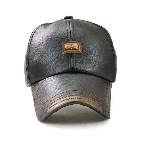 JAMONT Plain Leather Baseball Cap With Adjustable Strap For Men/Women Relaxed Outdoor, Black Panel Sun Hat