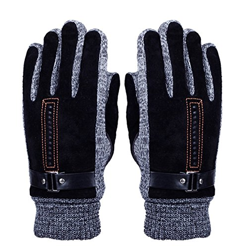 Men's Winter Leather Gloves – Doshop Thick Warm Fleece Windproof Gloves Cold Proof Thermal Mittens – Ideal for Dress Driving Cycling Motorcycle Camping etc