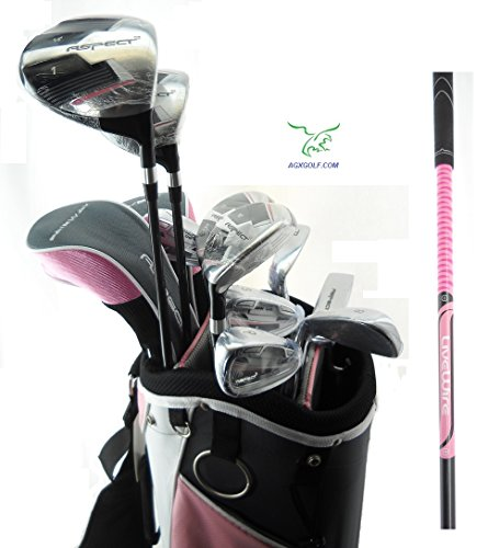 Orlimar Ladies Aspect Pink Right Hand Petite Length All Graphite Golf Club Set w/Ladies Cart Bag+Driver+3 Wd+5 & 6 Hybrids+7-9 Irons+PW+SW+ Putter; Fast Shipping! From AGXGOLF